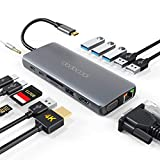 USB C Hub dodocool Hub USB C, Adaptador 14 en 1 con 4K HDMI, RJ45 Ethernet, 1080P VGA, USB3.0/2.0, Lector de Tarjetas SD/TF, Conector de Audio de 3,5 mm, Tpye C Hub para Android, Windows, Macbook
