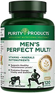 Men's Perfect Multi from Purity Products - Vitamins, Minerals and Phytonutrients - Supports Healthy Testosterone Levels and Promotes Energy, Vitality and Stamina - 120 Capsules