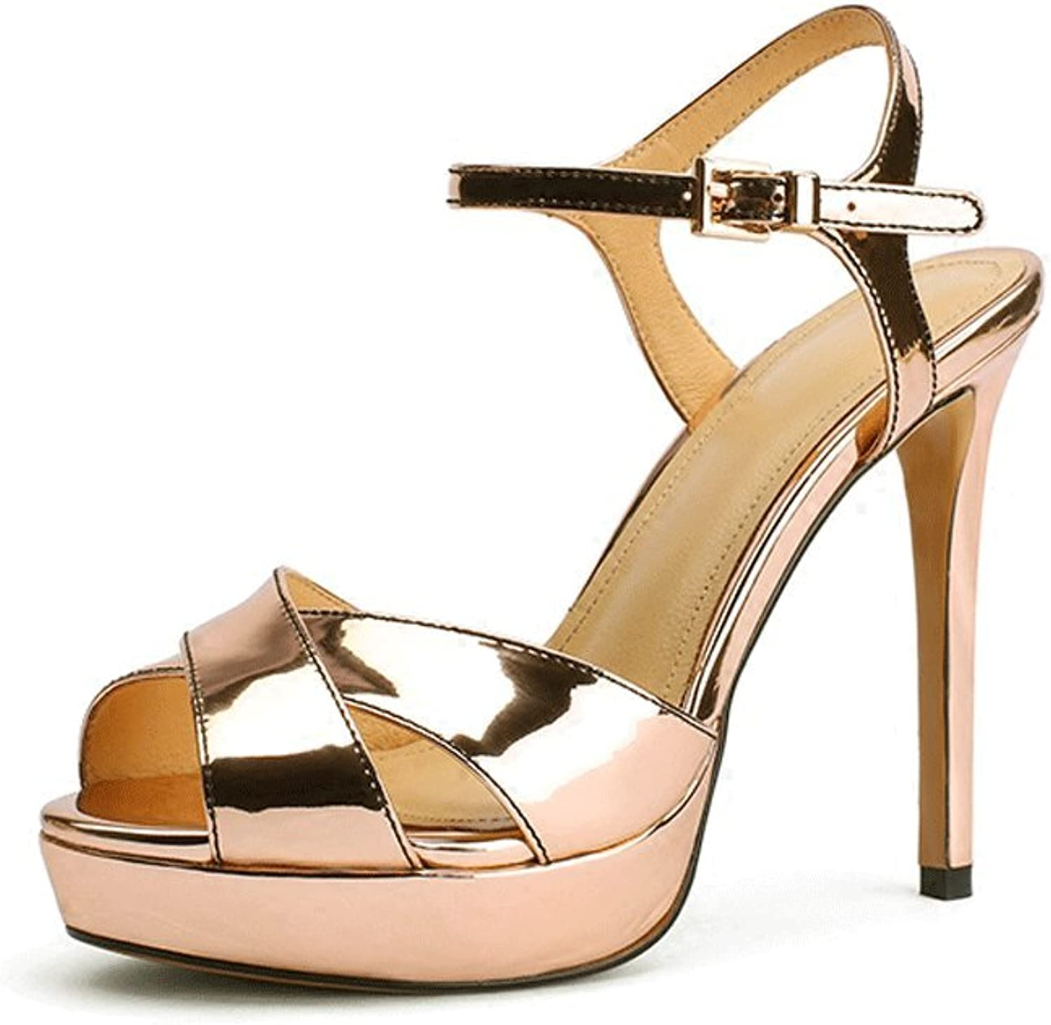 WANGXIAOLIN Button Buckle gold Leather shoes Platform Fine Sandals High-Heeled Sandals (Size   37)