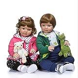 ZYYH Reborn Baby Doll, Simulation Boy/Girl/Garçon et Fille, Bambin, Silicone Doux Vie Vie Bébé, Blue Eye Kid 70cm,Boy and Girl
