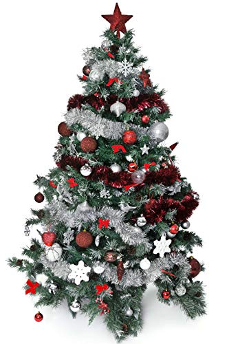 Alonsoo 3Pcs x 6.6ft Christmas Tinsel Garland, Christmas Tree Ornaments Home Party Classic Shiny Sparkly Ceiling Hanging Decorations,3.6 inch Wide Filaments Silver.