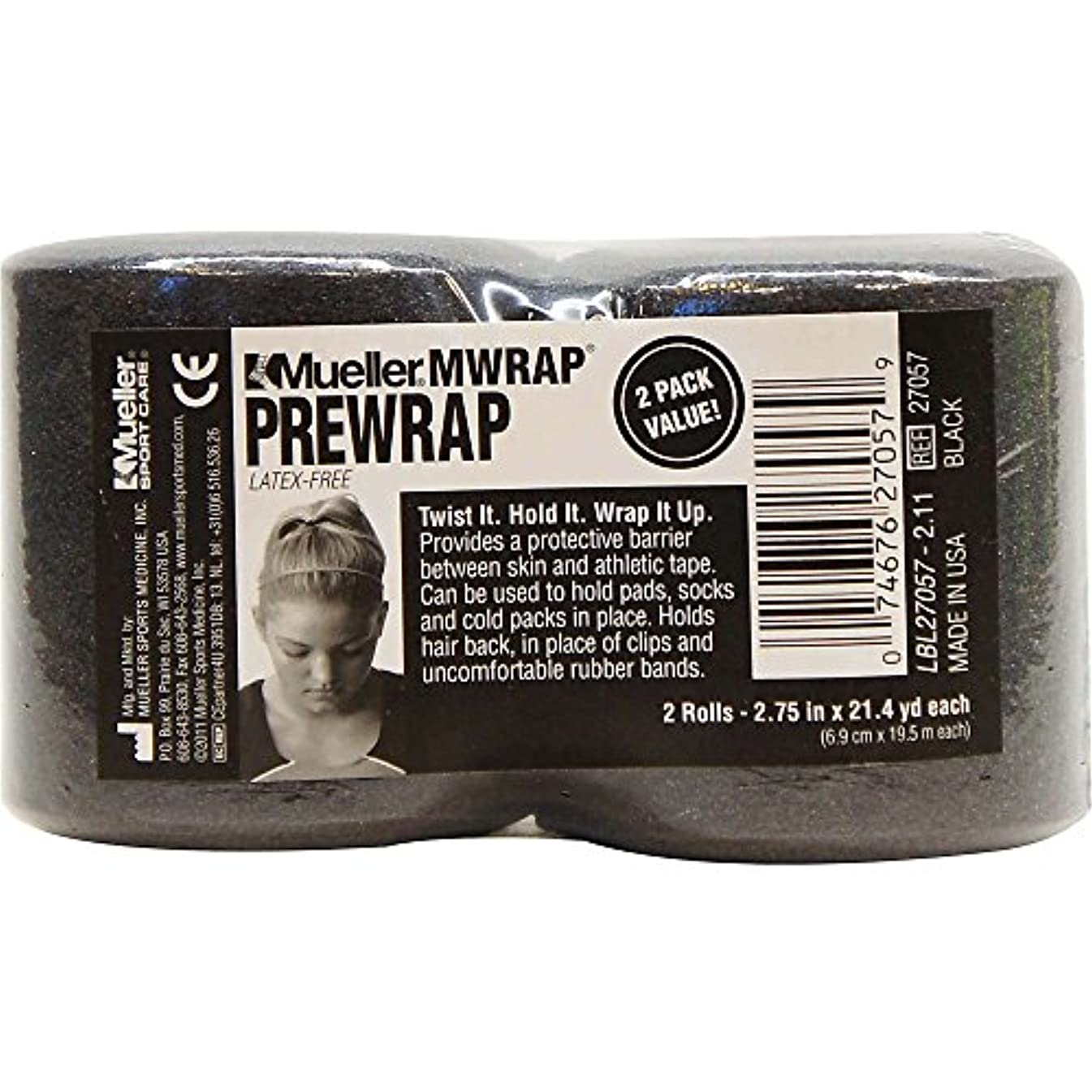 Mueller M Wrap 2-Pack Black Rolls