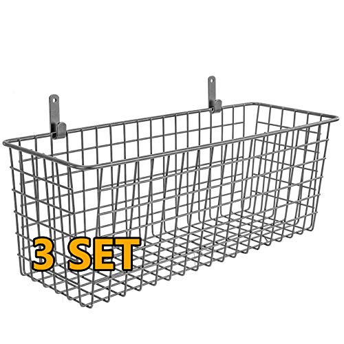 3 Set [Extra Large] Hanging Wall Basket for Storage, Wall Mount Sturdy Steel Wire Baskets, Metal Hang Cabinet Bin for Organizing, Rustic Farmhouse Decor, Kitchen Bathroom Organizer, Industrial Gray
