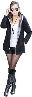 Shallood Donna Felpe con Cappuccio Manica Lunga Scollo a V Top Casual Chic Eleganti Tinta Unita Felpa Cardigan Lungo Felpe...