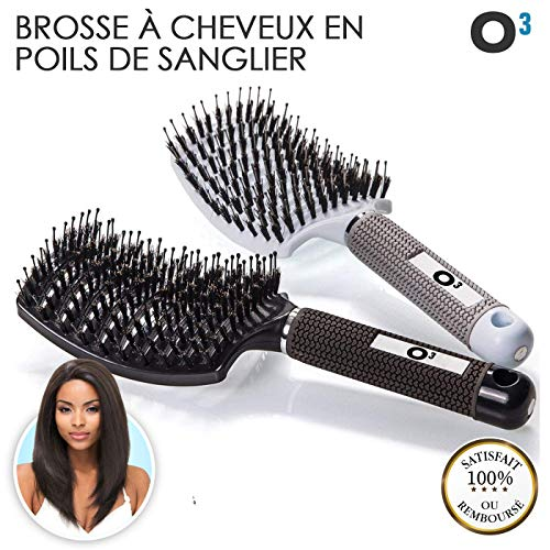 O³ Brosse Poil de Sanglier- 2 Brosses à Cheveux en Poils de sanglier- Démélant Cheveux 100% Naturel