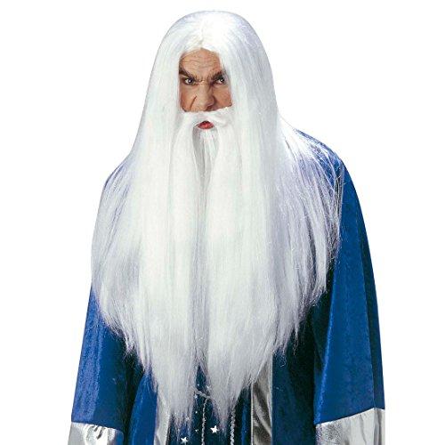 NET TOYS Perruque Magicien Gandalf avec Barbe Mage Perruque de Carnaval Merlin Perruque de Magicien Blanche