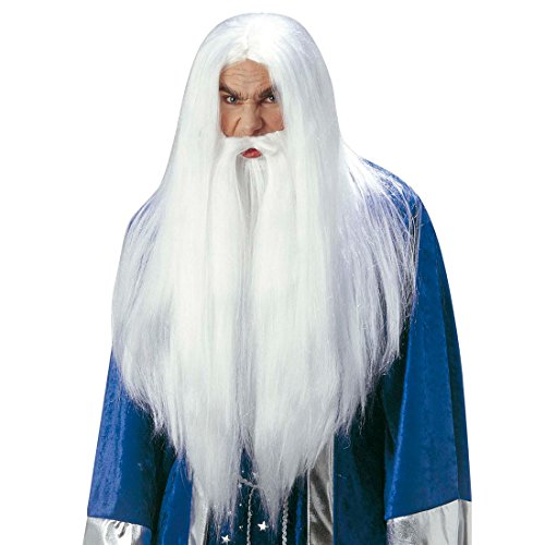 NET TOYS Perruque Magicien Gandalf avec Barbe Mage Perruque de Carnaval Merlin Perruque de Magicien Blanche