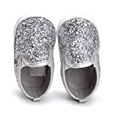 HONGTEYA Baby Boy Girls Sequins Crib Shoes Toddler Casual Glitter Moccasins Shoes Kids Sneakers (0-6 Months/4.33inch) Silver
