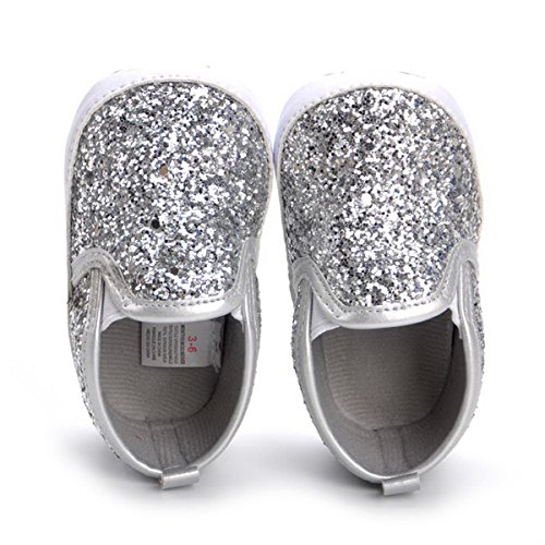 HONGTEYA Baby Boy Girls Sequins Crib Shoes Toddler Casual Glitter Moccasins Shoes Kids Sneakers (6-12 Months/4.72inch) Silver