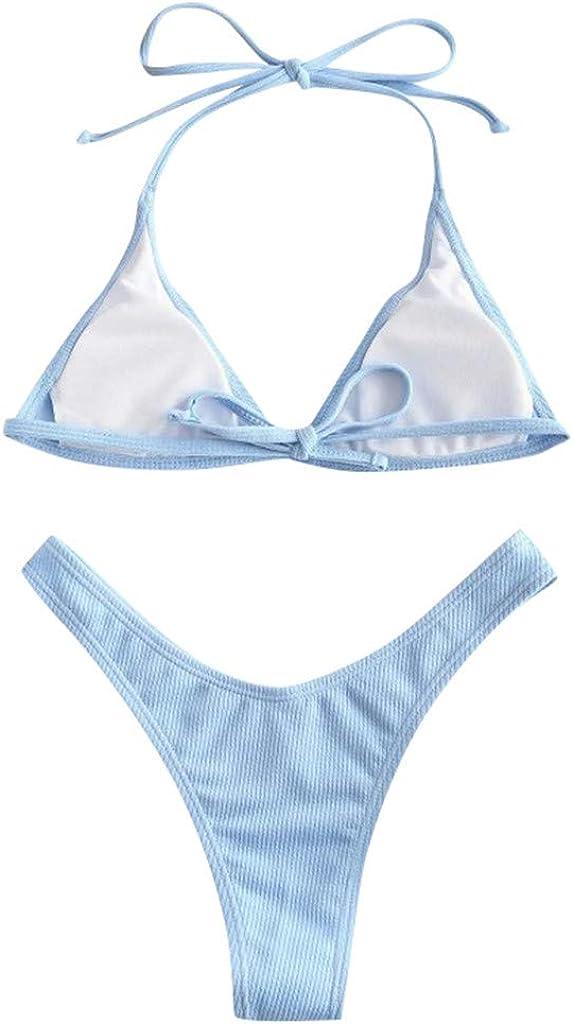 BHSJ Swimsuit for Women Print Push Up High Cut Lace Up Halter Bikini Tankini Swimjupmsuit Beachwear Padded Swimwear