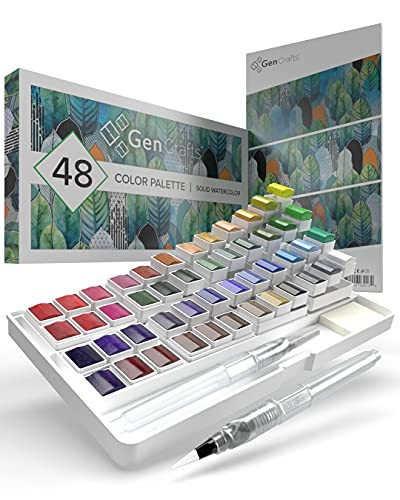 GenCrafts Watercolor Palette with Bonus Paper Pad Includes 48 Premium Colors - 2 Refillable Water Blending Brush Pens - No Mess Storage Case - 15 Sheets of Water Color Paper - Portable Painting