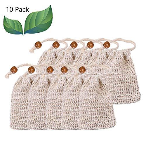 LATERN 10x Seifensäckchen Sisal Seifenbeute Natur Seifentasche Seifenreste Peeling Massage Aufschäumen und Trocknen der Seife