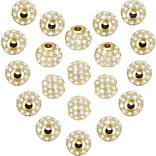 20 cuentas de circonita cúbica de 8 mm, cuentas redondas con diamantes de imitación, piedras de circonita de cristal, cuentas de bola para..