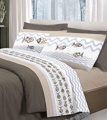 Juego de sábanas para cama con estampado de peces y peces, sábana encimera + sábana bajera con esquinas + funda de almohada con impresión en ambos lados, color beige