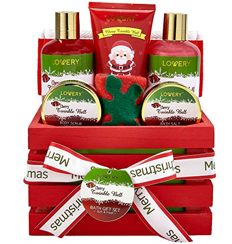 Bath and Body Christmas Gift Basket For Women and Men – Cherry Twinkle Bell Home Spa Set, Includes Fragrant Body Lotions, Bath Salts, Stocking Stuffer, Loofah Scrubber and More