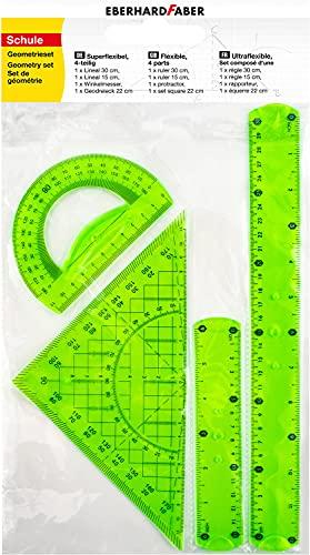 Eberhard Faber 570005 - Geometrie-Set mit 2 Linealen (ca. 15 cm und ca. 30 cm lang), Winkelmesser und Geodreieck ca. 22 cm lang, aus Kunststoff, sehr bruchsicher, ideal für Schule, Freizeit und Büro