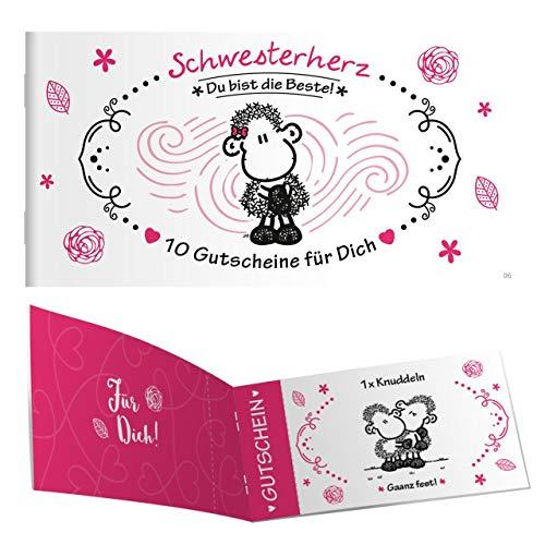 Sheepworld - 45301 - Gutscheinheft, Schwesterherz, 10 Gutscheine