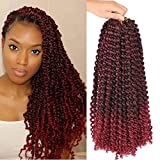 6 Packs Passion Twists Hair 18inch Ombre Burgundy Water Wave Crochet Hair for Butterfly Soft Locs Synthetic Crochet Hair Passion Twist Long Bohemian Locs Braiding Hair Extensions (18' 6packs TBUG#)
