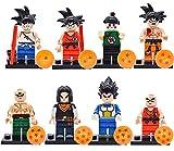 Dragon Ball Cupcake Toppers-Miotlsy 8PCS Dragon Ball Mini Figuras Goku Broly Super Saiyan Gogeta Anime Modelo Figuras para Niños Decoración de Cumpleaños Tarta