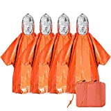 LadyRosian 4 Pack Emergency Blankets Poncho - Keeps Dry & Warm Camping Hiking Gear/Survival Gear Equipment - Thermal Mylar Space Rain Coat Ponchos for Any Outdoor Activity (4 PCS)