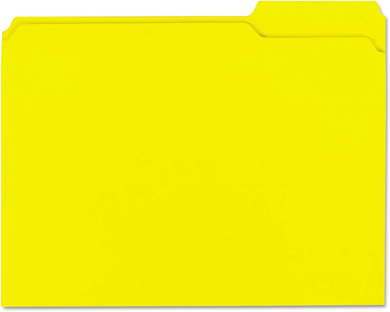 colord File Folders, 1 3 Cut Assorted, TwoPly Top Tab, Letter, Yellow, 100 Box