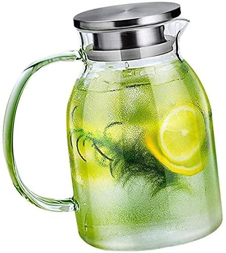 n.g. Wohnzimmerzubehör Teekannen Tasse Glaskrug mit Deckel EIS zur einfachen Reinigung Einfach einfüllen Ideal für Teesaft Getränke Getränke Küche Geschenk für die Familie Kostenlose Reinigungsbürste