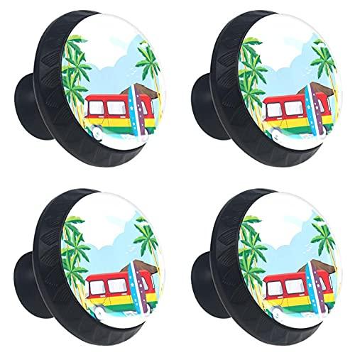 Tiradores para Muebles Infantiles Colorido autobús de playa Pomos y Tiradores redondo Pomo para muebles cristal Tirador de armario Manija de la puerta 4 piezas 3.5×2.8CM