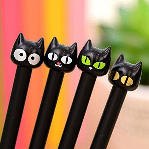 Bluelans 4pcs Cute Cartoon Black Cat Gel Ink Pen Rollerball Pens for Office School Student, 0.5mm Tip Rollerball Pens (Black Cat Gel Ink Pen - 4 Pens)