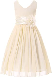 7857bb22f9d Bow Dream Junior Bridesmaids V-Neckline Chiffon Flower Girl Dress