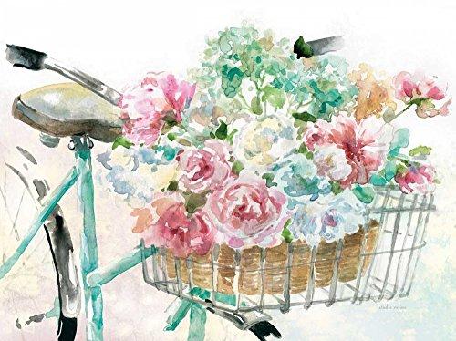 Feeling at home ESTRILLADO-LIENZADO-Floral-Mercado-Bicicleta-Estudio-Rofino-Floral-Fine-Art-impresión-enmarcado-on-madera-bars-cm_27x37_in
