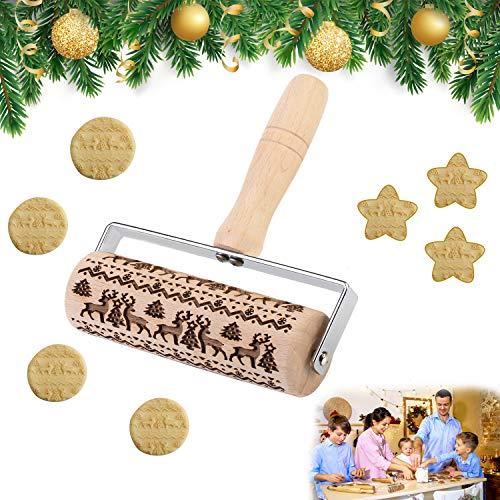 EKKONG Teigroller Muster, Teigroller Holz PräGerolle Weihnachten Nudelholz Klein 3D Kinder Nudelhölzer für DIY Weihnachtsplätzchen Küche Lebkuchen Plätzchen Weihnachtsthema Dekoration