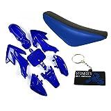 Stoneder Carénage en plastique bleu et noir - Siège haut en mousse - Pour motocross Honda CRF50 XR50 de 50, 70, 90, 125, ou 160 cc