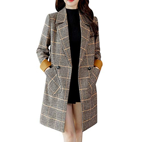 WOCACHI Womens Lapel Shift Coat Houndstooth Cardigans Overcoat Long Trench Coats Winter Outerwear Warm Parka Cotton Padded Jackets Big (Black, Large)
