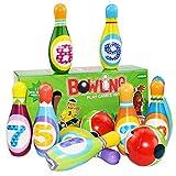 Yinuoday Jeu de Bowling pour Enfants Jouets de Boule de Quilles de Bowling avec 10 Broches Et 2 Boules Jeu Actif pour Tout-Petits Jeu Éducatif Kit de Bowling pour Enfants pour Garçon Filles Enfants