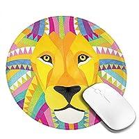 Mouse pad カラフルなライオン 円型マウスパッド パソコン テーブルクロス 周辺機器 かわいい柄 滑り止め 防水 おしゃれ オフィス用 ゲーム用