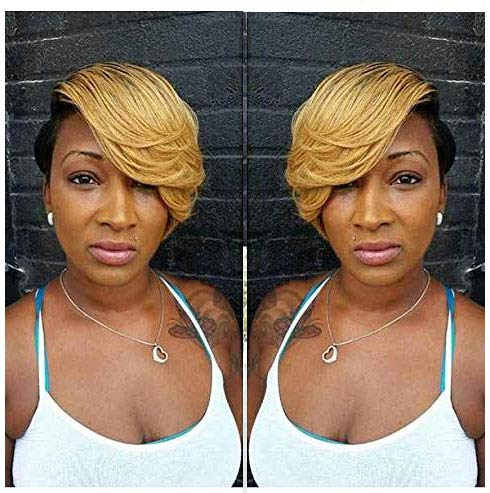BeiSD Short Pixie Cuts Synthetic Wigs For Black Women Blonde Black 2 Tones Synthetic Wig Short Black Wigs With Blonde Bangs (89410)