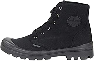 Mens Hiking Boots - Rugged Outdoor Ranger Boot - Waterproof High Top Canvas Trekking Ankle Shoes for Men with Cushioned Insole with Arch Support & Rubber Sole