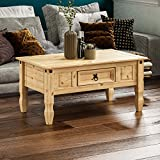 Vida Designs Corona Coffee Table With Drawer, Distressed Waxed Pine, Solid Wood
