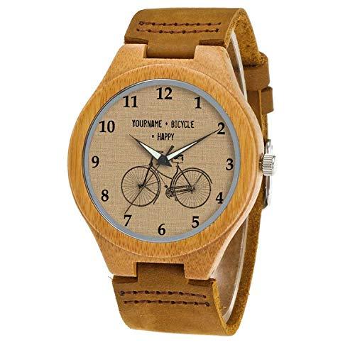 Uhr Armbanduhr Bambus Holz Uhr Naturholz Echtes Leder 266.You Plus Fahrrad entspricht Happy Natural Sack Sack UhrenUhr Armbanduhr Für Frauen Männer Paar