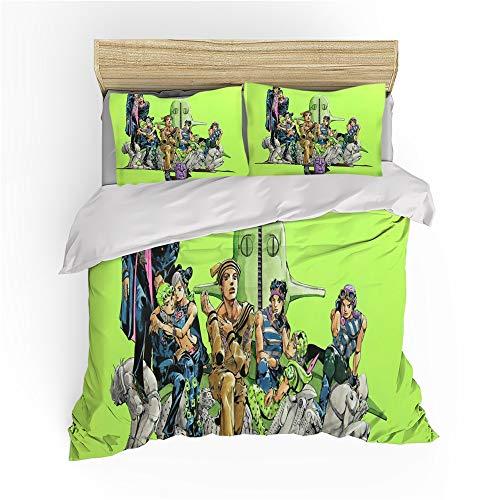 Ksainiy Quilt Cover, 3D Printing JoJo's Bizarre Adventure Anime Fan Duvet Cover, Single/double Bedroom Bedding, Comfortable Polyester Fabric, Zipper Closure, The Best