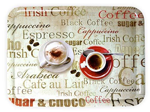 Lashuma Gastrotablett Rechteckig, Druck: Espresso, Großes Kunststoff Tablett 50x37 cm, Italienisches Kaffeetablett