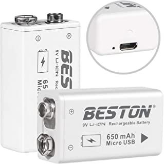 BESTON 9V Lithium ion Battery, High Capacity 650mAh Rechargeable Li-ion Polymer Battery with Micro USB Charging Port, 2-Pack