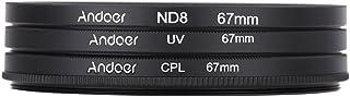 Andoer 67mm UV + CPL + ND8 Circular filtro Kit Circular polarizador Filtro ND8 densidad neutra filtro con bolsa para cámara réflex digital de Nikon Canon Pentax Sony