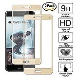 Guran [2 Paquete] Protector de Pantalla para Huawei P8 Lite 2017 / Honor 8 Lite [Full Coverage] Vidrio Cristal Templado 100% Cobertura Completa Film - Dorado