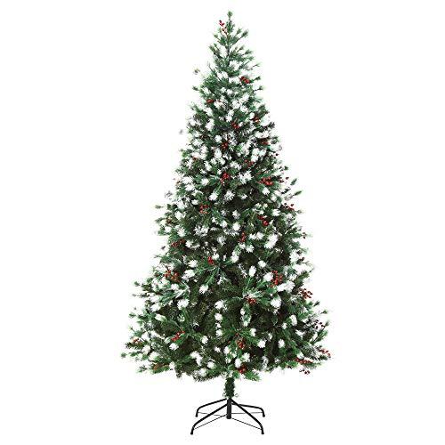 homcom Albero di Natale Pino Artificiale Effetto Innevato, con Rami e Bacche Rosse, Base Pieghevole e Rimovibile, 180cm