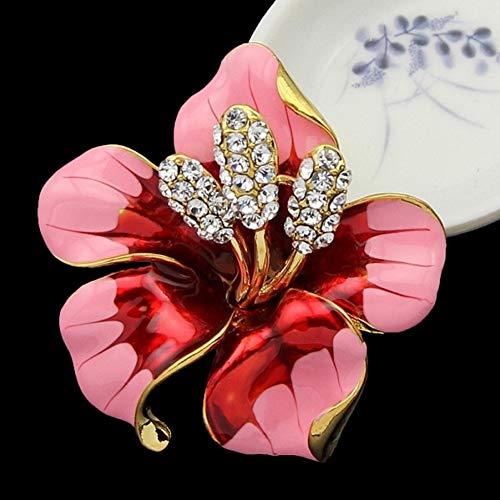 HUANGHUA Strass Crystal Lily Flower Broschen für Frauen Schmuck Geburtstagsgeschenk