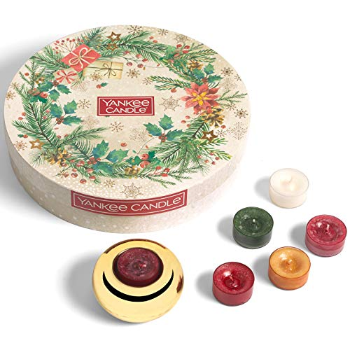 Yankee Candle confezione regalo | Candele profumate natalizie | 18 candele tea light e 1 porta candela tea light | Collezione Magical Christmas Morning