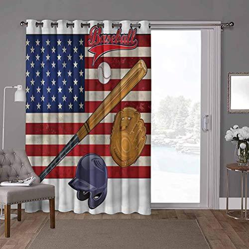 YUAZHOQI Cortina térmica para puerta corredera, deportes, bandera de Estados Unidos y béisbol, 100 x 96 pulgadas, privacidad vertical persiana para sala de estar (1 panel)