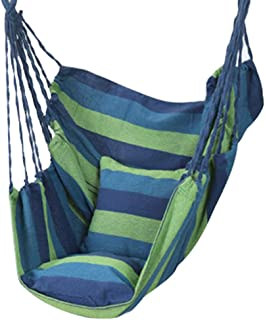 Zacha Hamaca colgante para exterior, silla colgante para exterior, columpio con cojín con 2 cojines, silla de columpio portátil