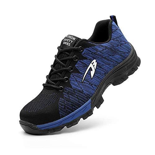 Zapatos de Seguridad para Hombres Zapatos de Acero con Punta de Seguridad,Zapatillas Deportivas Ligeras e Industriales Transpirables, Azul 44